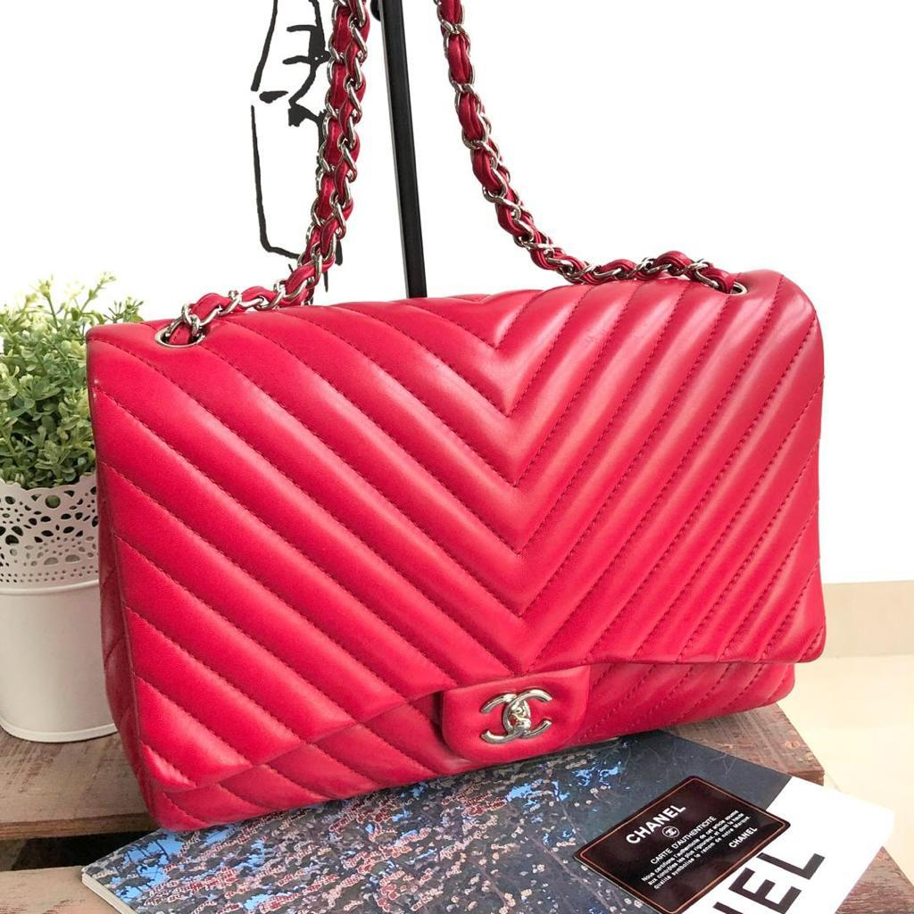 Chevron Maxi Single Flap in Red Lambskin with Silver Hardware