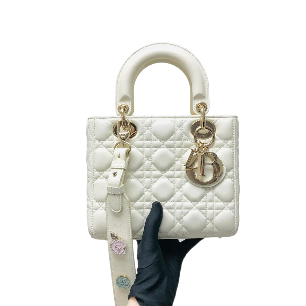 Lady Dior Lucky Badges Cannage Lambskin Small Bag White