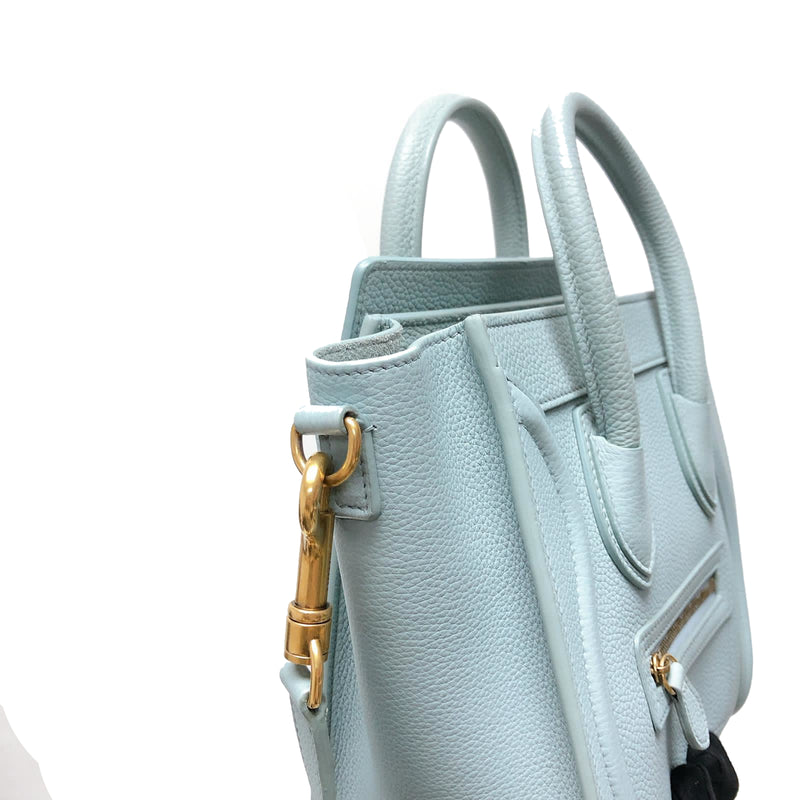 Nano Luggage Grained Leather Tote Light Blue