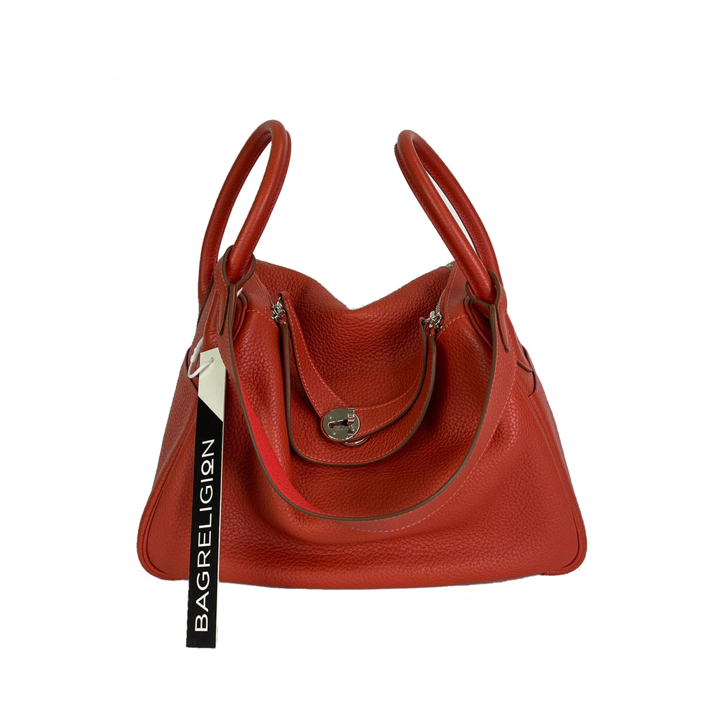Lindy 30 Bougainvillea Interior Clemence Leather Shoulder Bag Brick