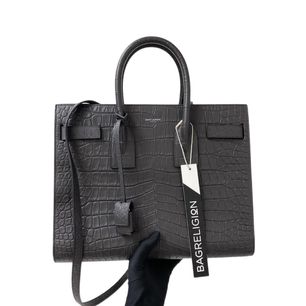 Small Sac De Jour in Crocodile-Embossed Leather Grey