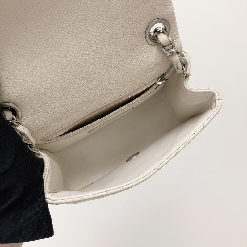 Square Mini Flap in White with SHW