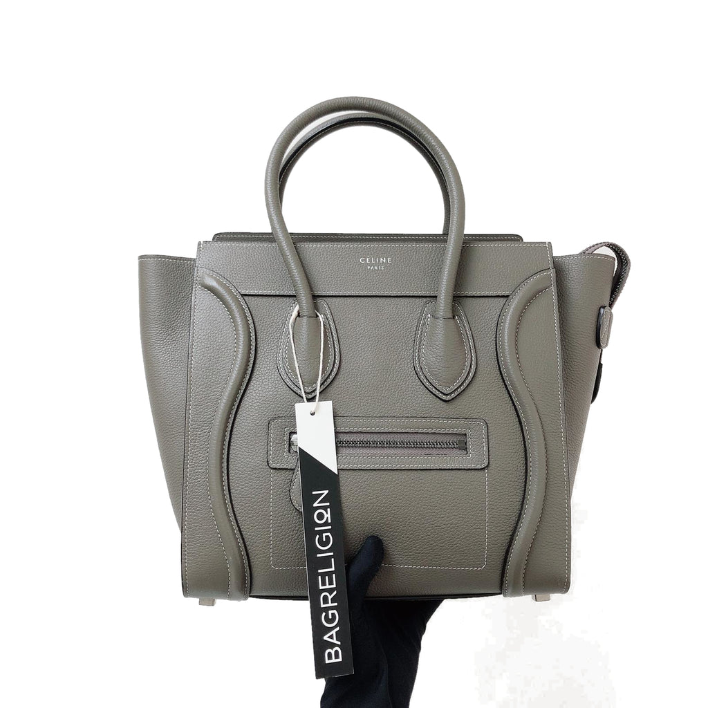Drummed Leather Micro Luggage Tote in Grey with SHW