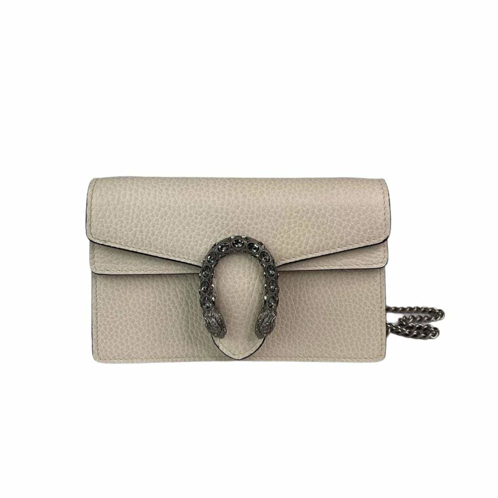Super Mini Dionysus Leather Crossbody Bag in White with RHW