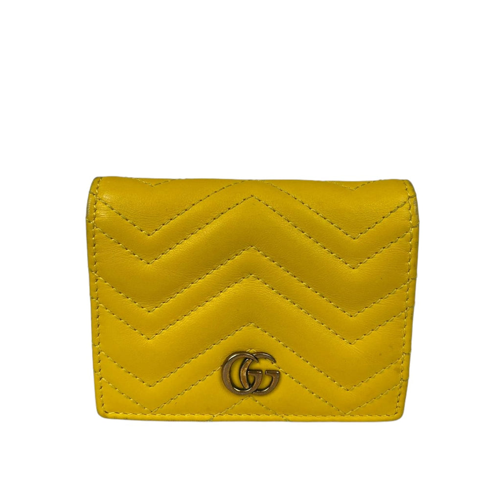 GG Marmont Card Case Wallet in Yellow with GHW