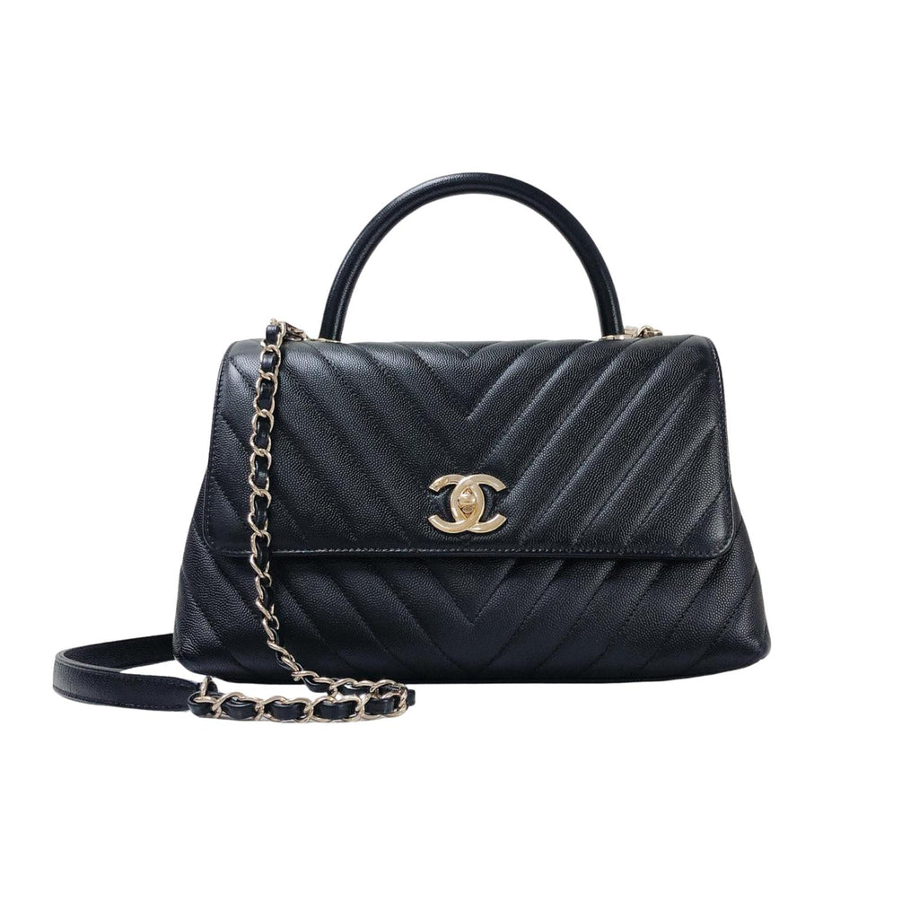 Coco Handle Medium Chevron Flap Bag in Black with GHW