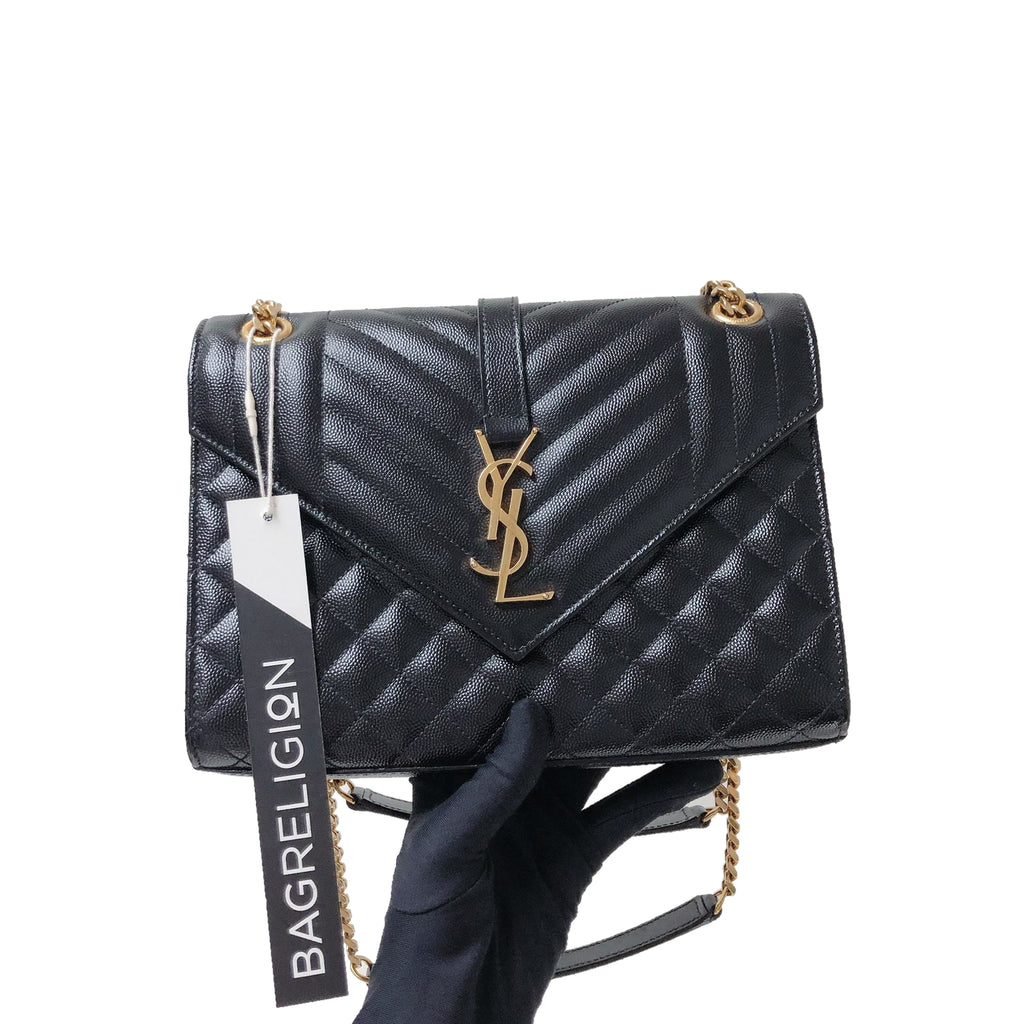 Quilted Envelope Medium Bag in Black with GHW