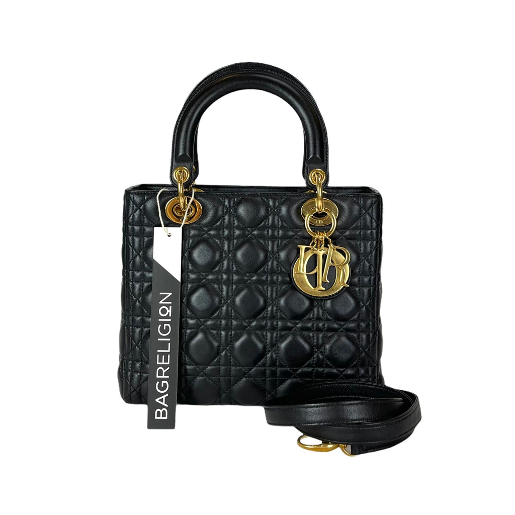 Lady Dior Medium in Black with GHW