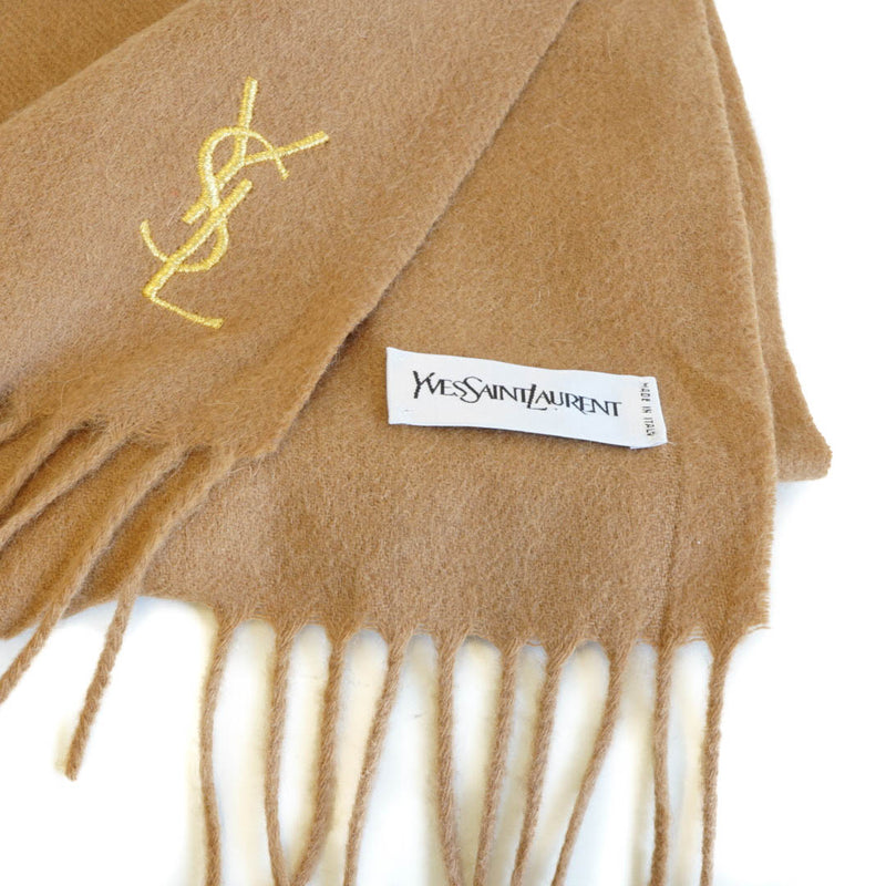 Pure Wool Scarf Tan with gold YSL monogram - Bag Religion