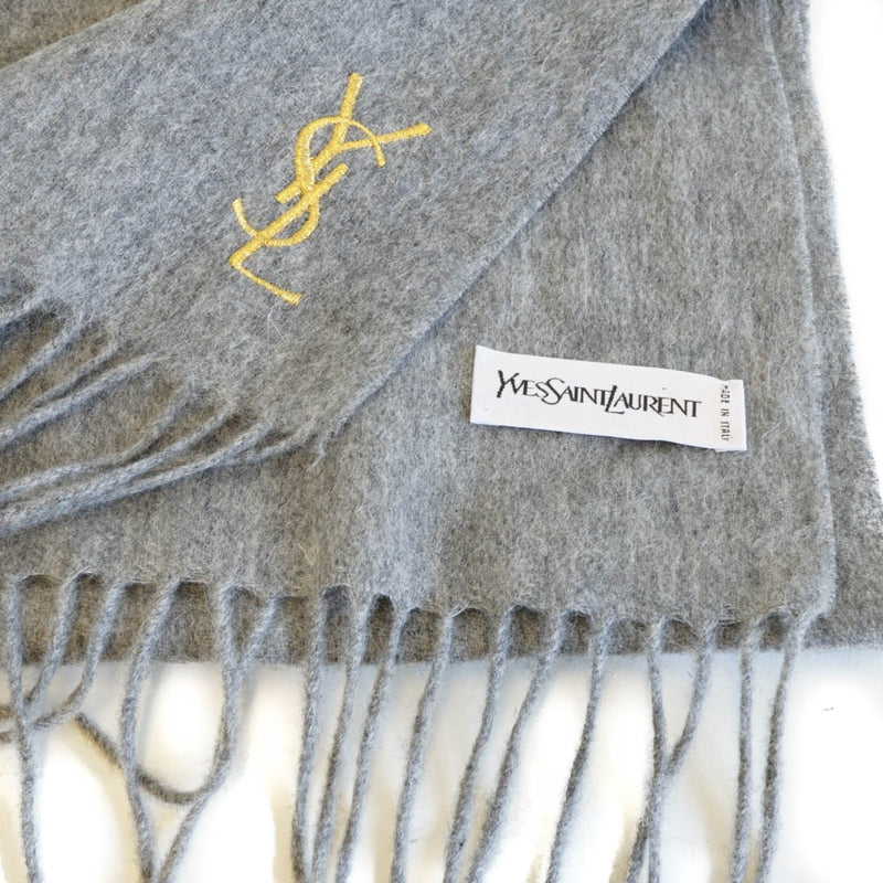 Pure Wool Scarf Gray with gold YSL monogram - Bag Religion