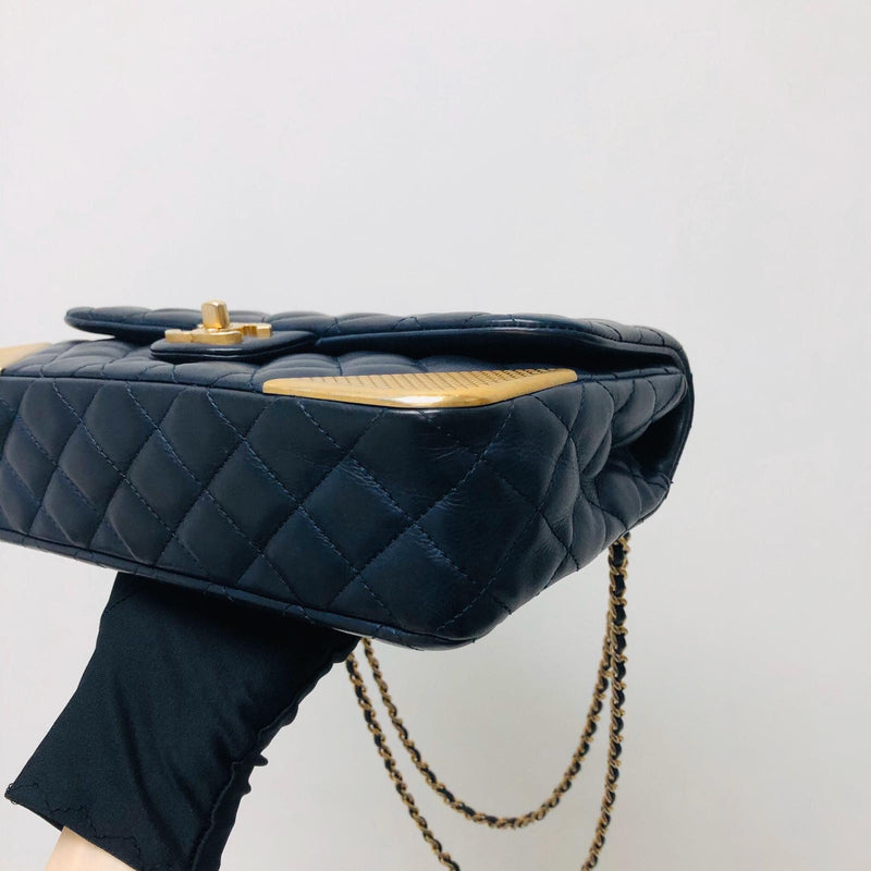 Studded Rock the Corners Flap Bag in Dark Blue