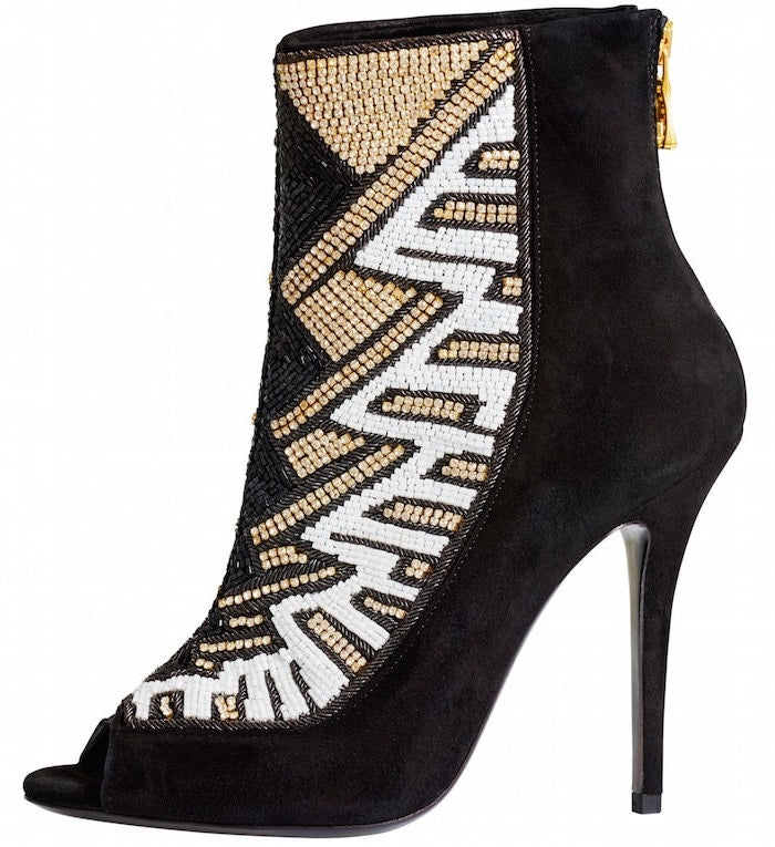 Peep-Toe Crystal Beaded Heel Boots - Bag Religion