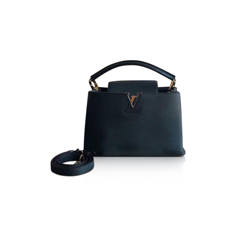 Taurillon Leather Capucines Black PM Bag