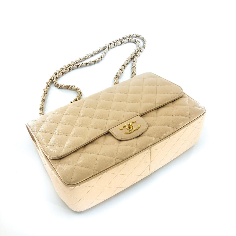 Vintage Jumbo Flap Bag in Beige Caviar Leather - Bag Religion