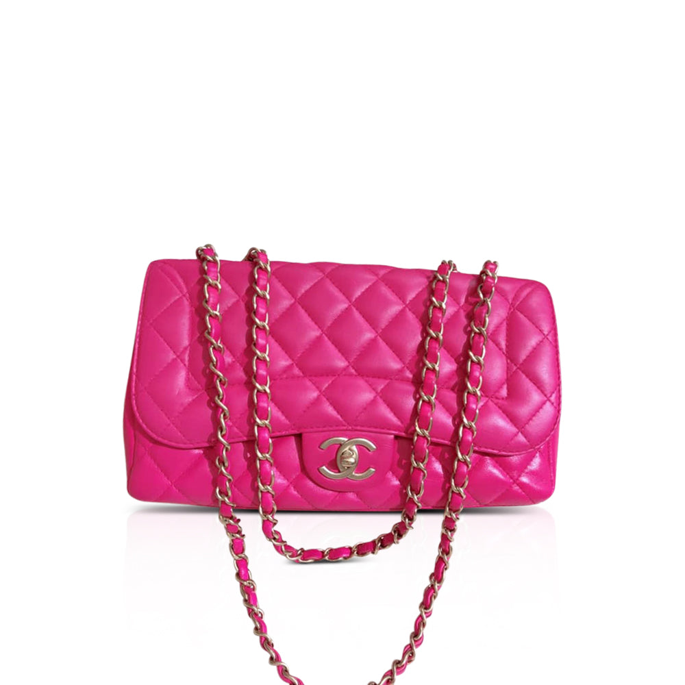 Medium Timeless Flap Bag in Hot Pink Lambskin Leather with Matt GHW - Bag Religion