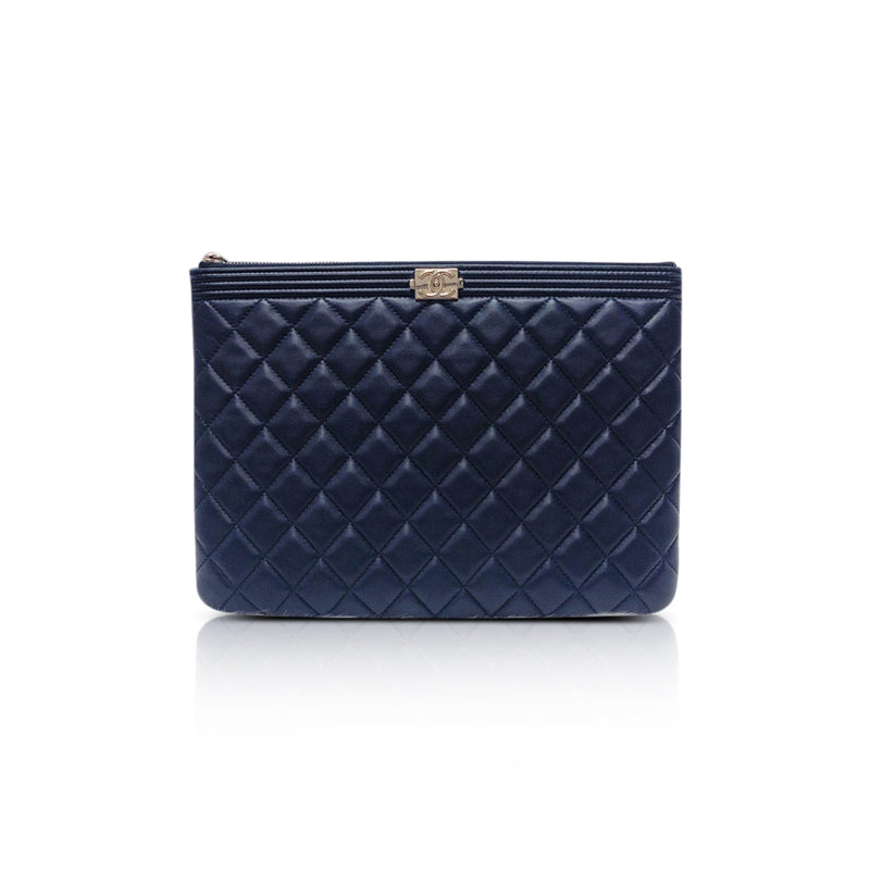 Lambskin O Case Quilted Navy Blue Large Boy Zip Pouch