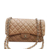 Jumbo Classic Double Flap Iridescent Dark Pearly Beige Caviar Leather with SHW