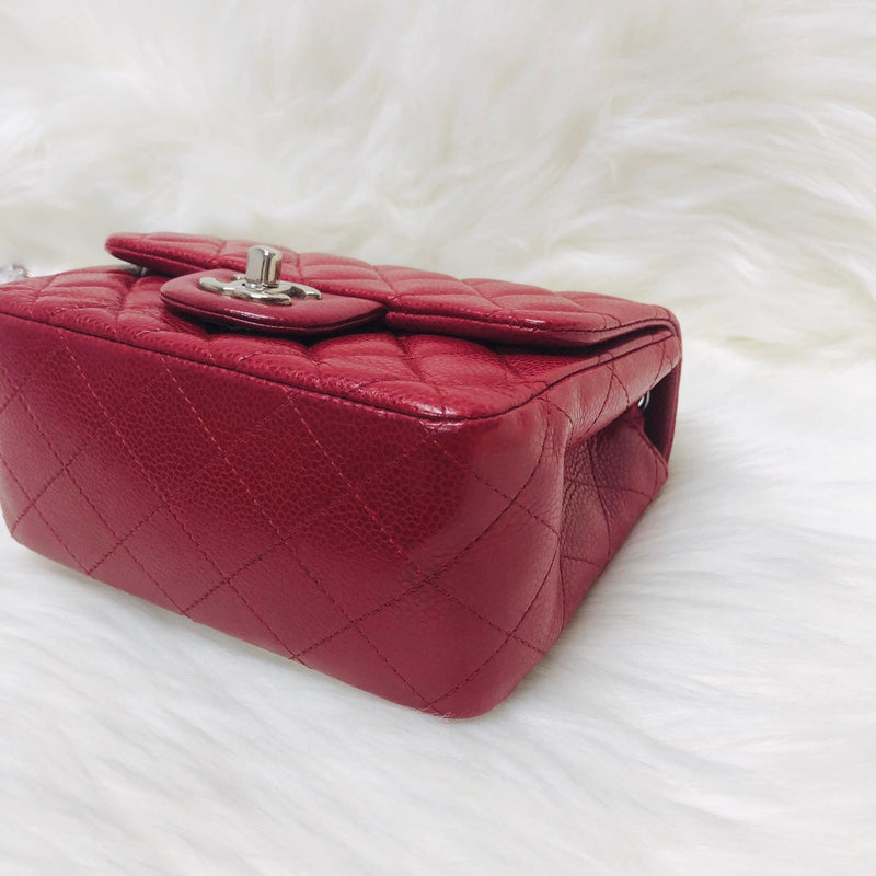 Square Mini Flap Bag in Red Quilted Caviar Leather with SHW