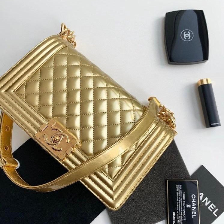 Old Medium Boy Bag in Patent Gold with GHW