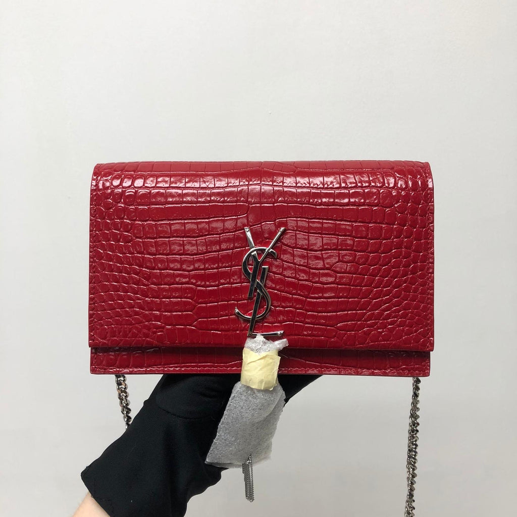 Classic Monogram Kate Tassel WOC in Red Crocodile Embossed Leather