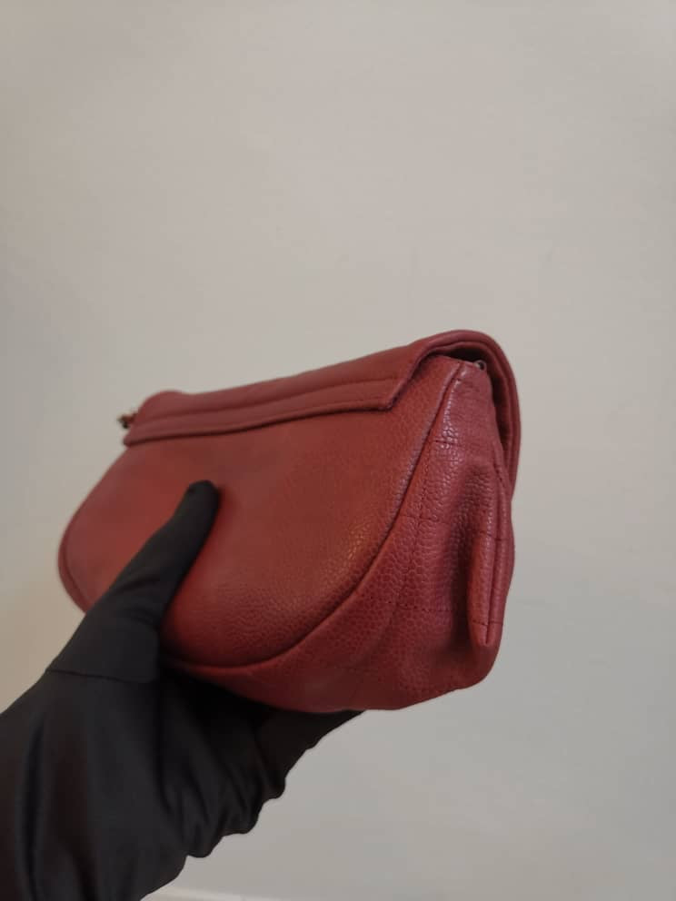 Crossbody Half Moon Flap Dark Red Caviar Leather with SHW