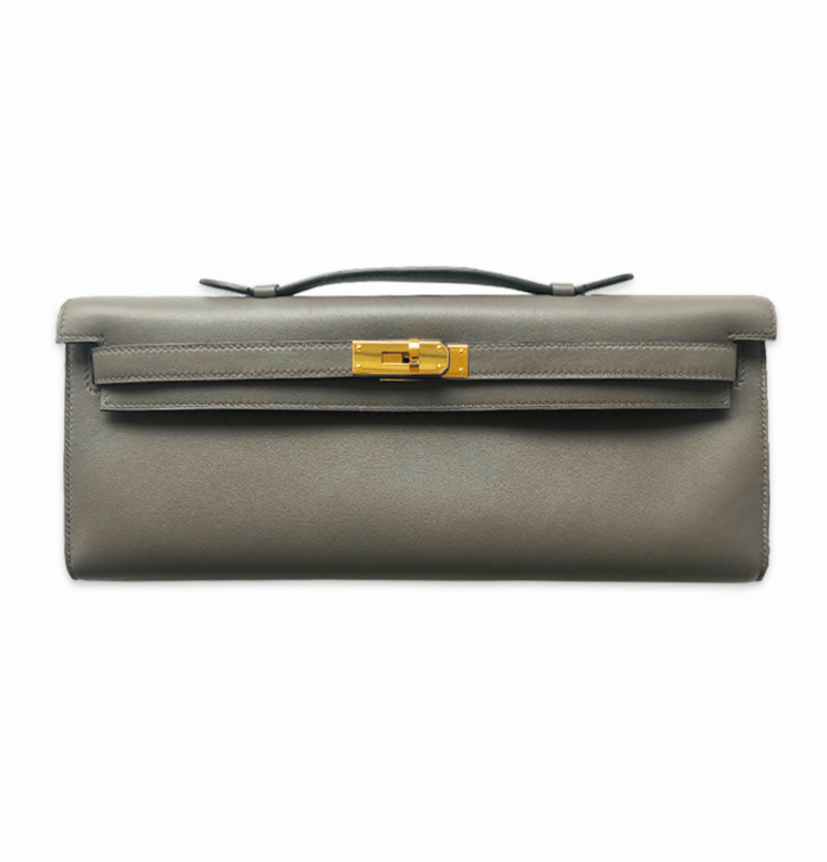 Kelly Cut Swift Leather Clutch in Etain GHW - Bag Religion