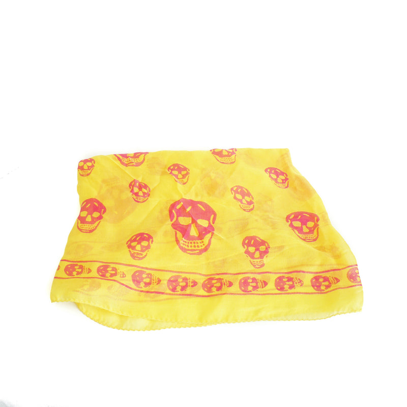 Silk Skull Scarf in Yellow and Pink - Bag Religion