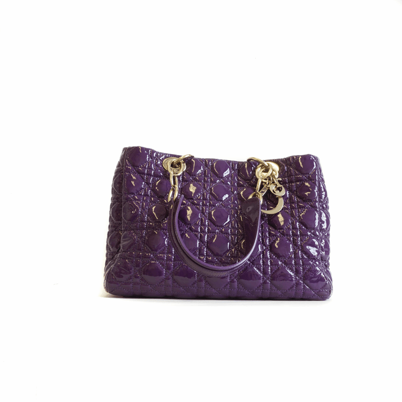 Cannage Quilted Purple Leather Soft Small Shopping Tote - Bag Religion