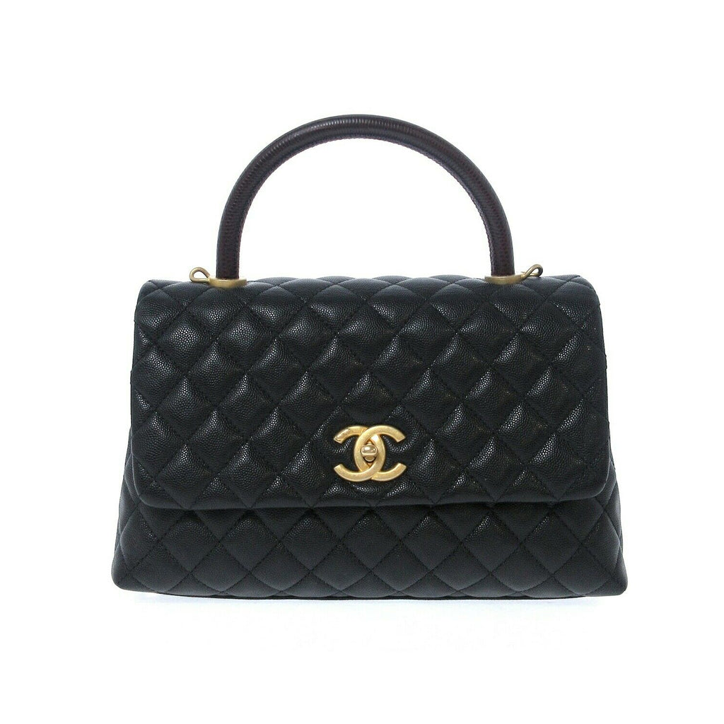 Coco Handle Medium Flap Bag Black