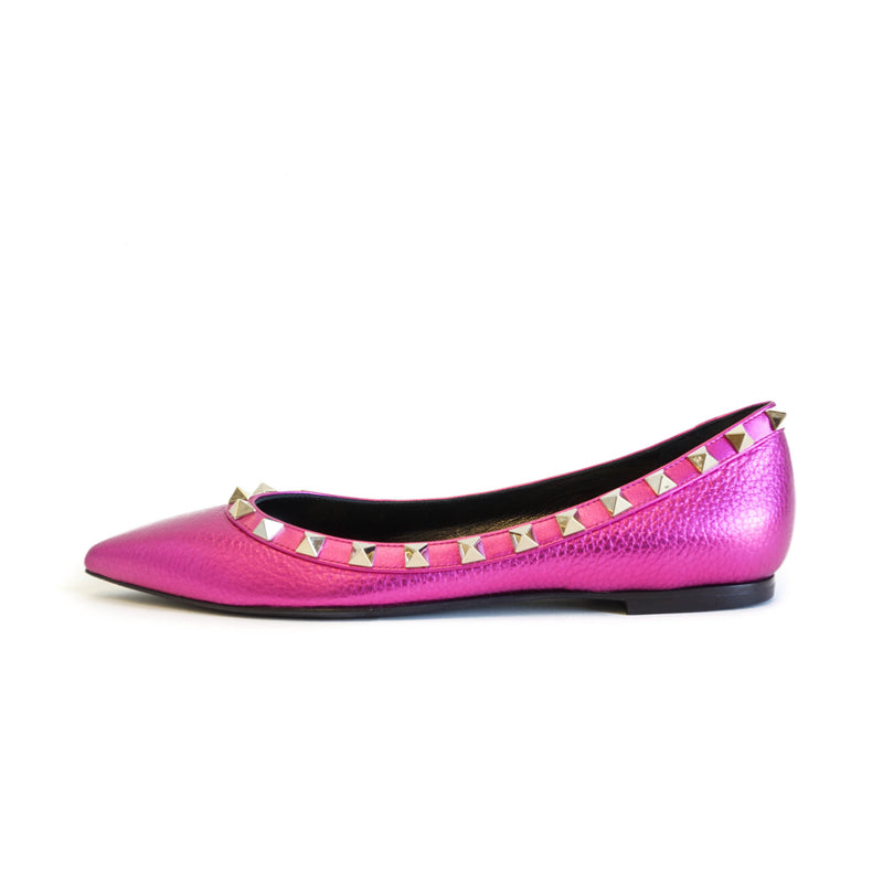 Rockstud Flats in Metallic Peony - Bag Religion
