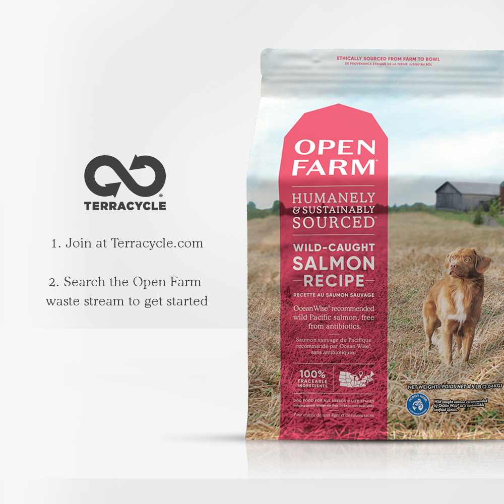 Open Farm Wild-Caught Salmon Dry Dog Food packaging with recycleable packaging