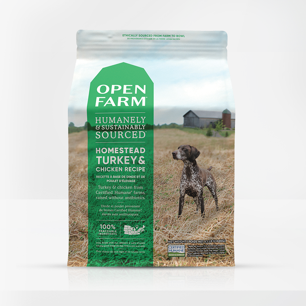 Open Farm Homestead Turkey & Chicken Dry Dog Food packaging
