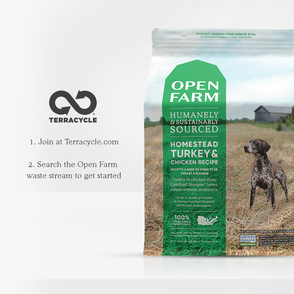 Open Farm Homestead Turkey & Chicken Dry Grain Free Dog Foodwith recycleable packaging