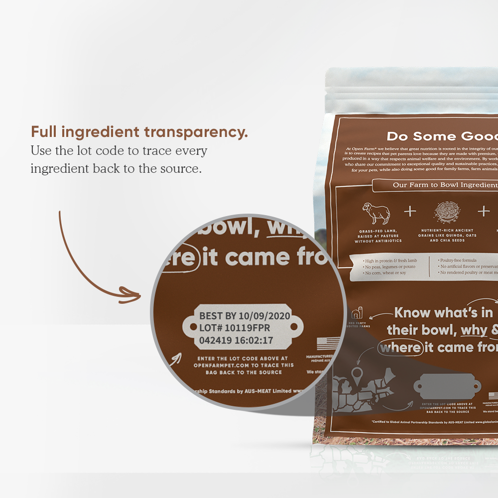 Open Farm Lamb Dry Dog Food ingredient transparency