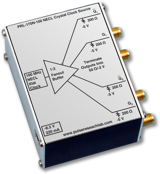 PRL-170N-622.08-OEM, NECL Crystal Clock Source, 2 Channels, SMA Outputs, 622.08 MHz Crystal, No Power Supply