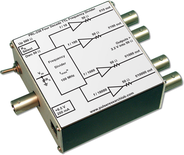 PRL-230-BNC-OEM, 4-Decade TTL Freq. Divider (f/10 - f/10000), BNC I/O Connectors, No Power Supply