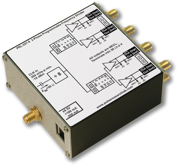 PRL-257-8, 12 GHz Programmable 2-Phase Frequency Divider (f/8-f/128), No Power Supply