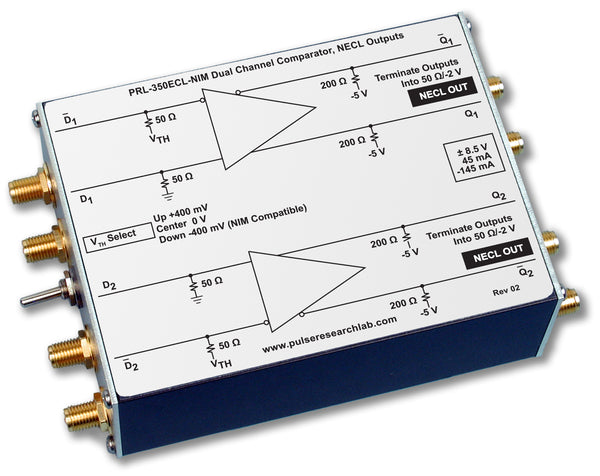 2 Channel Comparator, NECL Outputs, NIM-Compatible Inputs