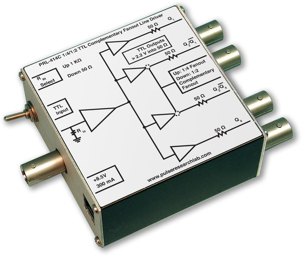 PRL-414C-BNC-OEM, 1:4/1:2 TTL Complementary Fanout Line Driver, BNC I/O Connectors, No Power Supply