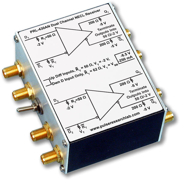 PRL-430AN-SMA-OEM, 2 Ch. Channel Differential NECL Receiver, SMA I/Os, No Power Supply