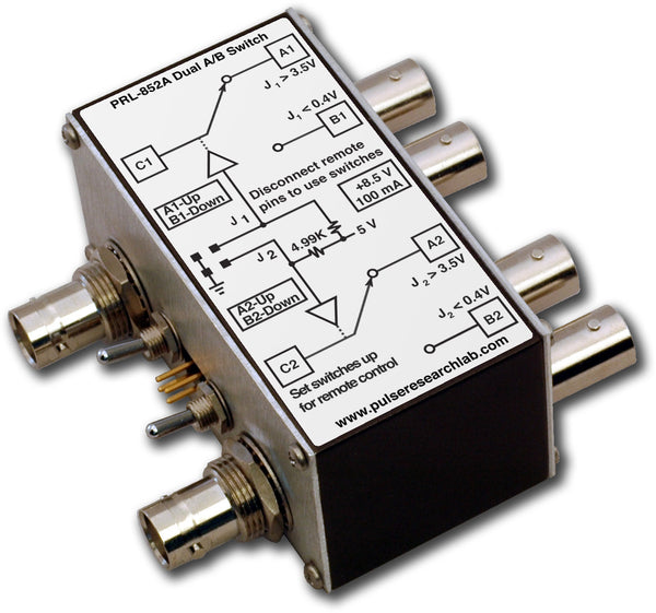 PRL-852A-RM-BNC-OEM, 2 Ch., 2 GHz A/B Switch, Remotely controllable, BNC I/O Connectors, No Power Supply