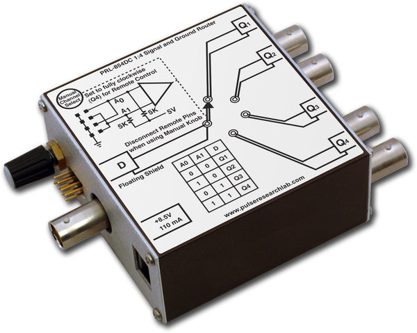 1 x 4 Signal/Ground Router, Manual/Remote control, isolated BNC I/Os