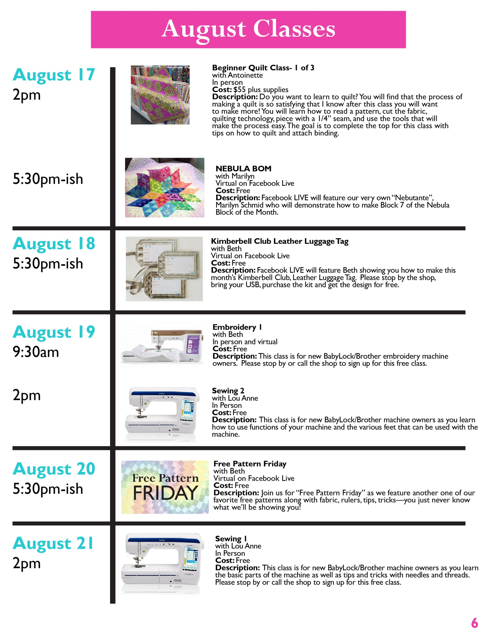 Quilts and Lace Newsletter August Page 6