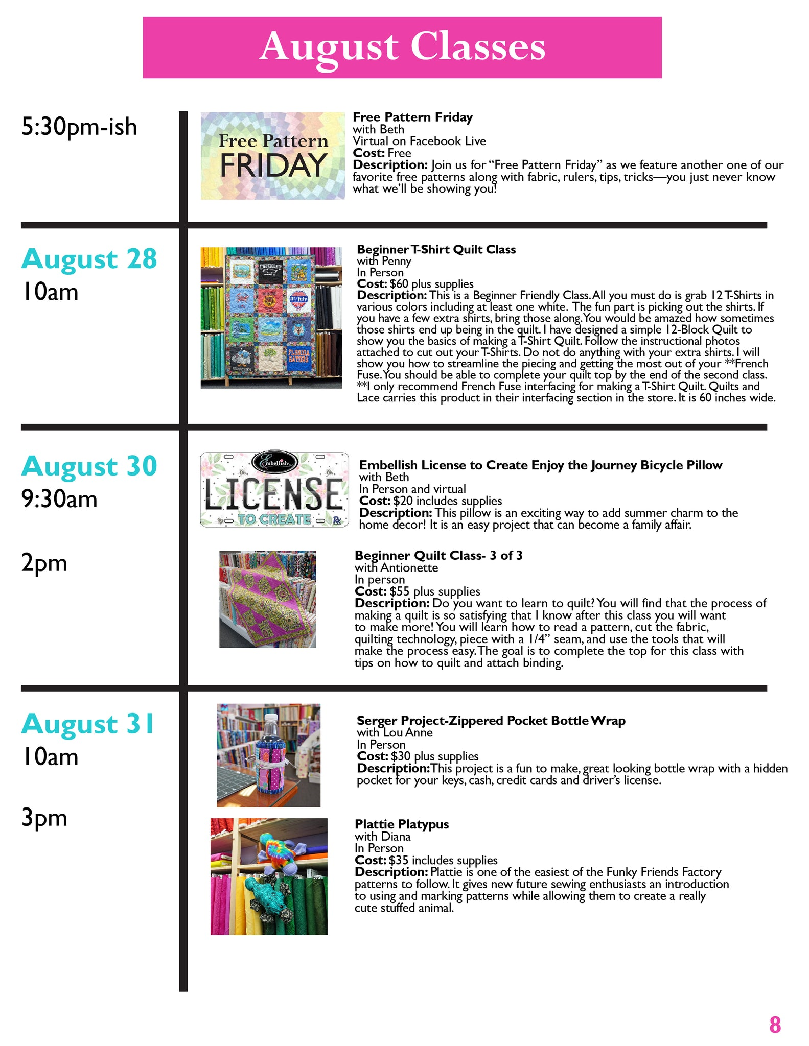 Quilts and Lace Newsletter August Page 8