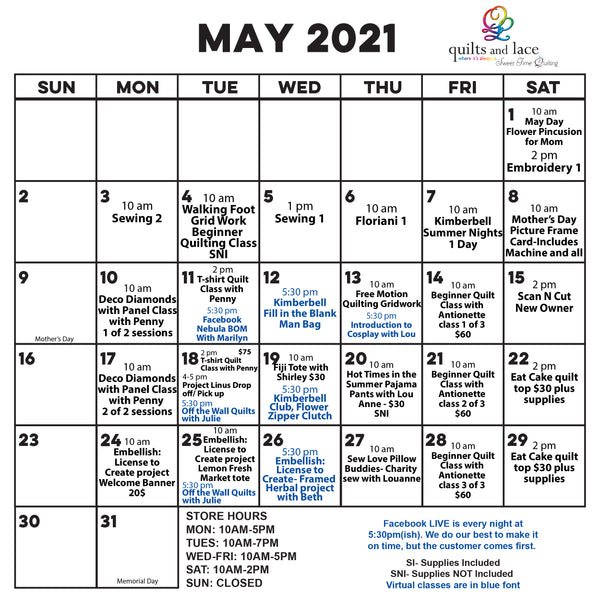 May Calendar of Classes and Events