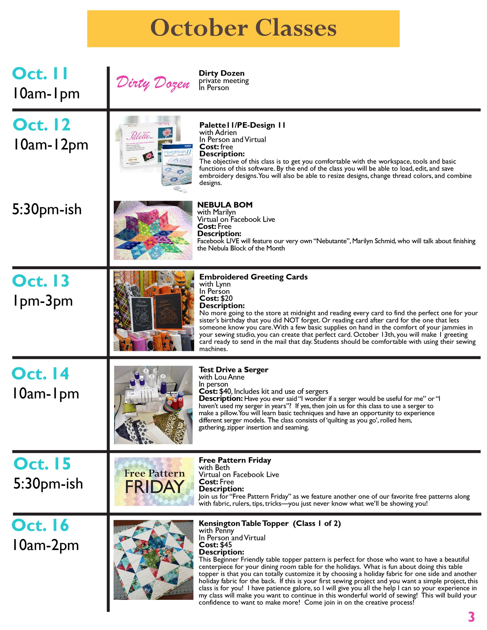 Quilts and Lace October Newsletter Page 3