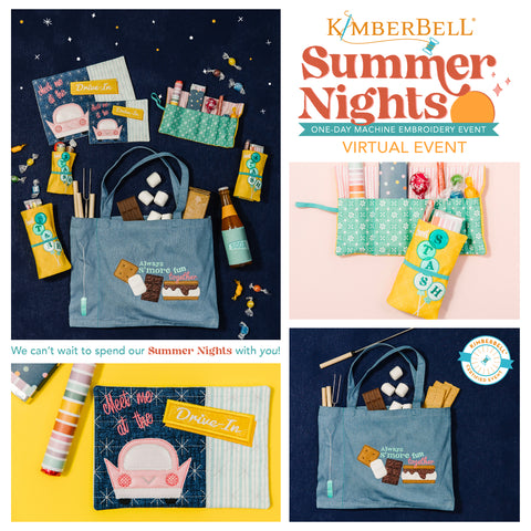 Kimberbells Summer Nights Virtual Embroidery Event flyer
