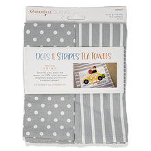 Load image into Gallery viewer, Kimberbell Dots & Stripes Tea Towels- Grey