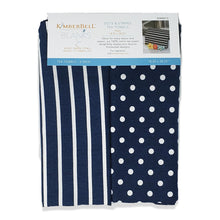 Load image into Gallery viewer, Kimberbell Dots & Stripes Tea Towels- Navy