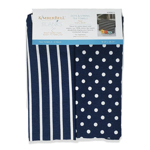 Kimberbell Dots & Stripes Tea Towels- Navy